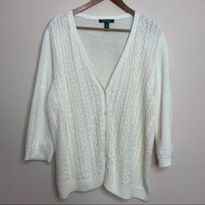 LRL Linen Cotton Blend Cream Cable Knit Cardigan